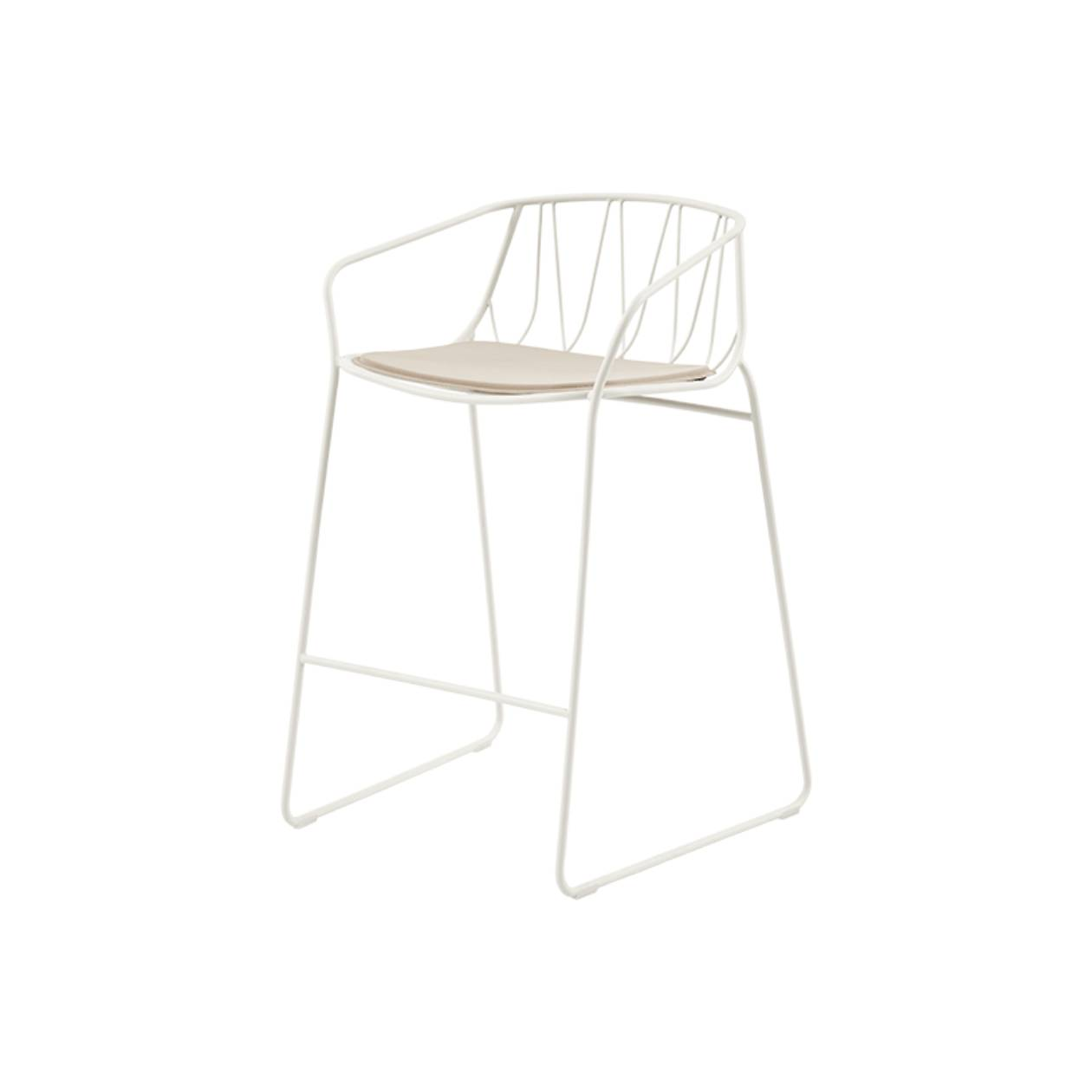 Chee Bar + Counter Stool: Counter + White + Light Greige Seat Pad