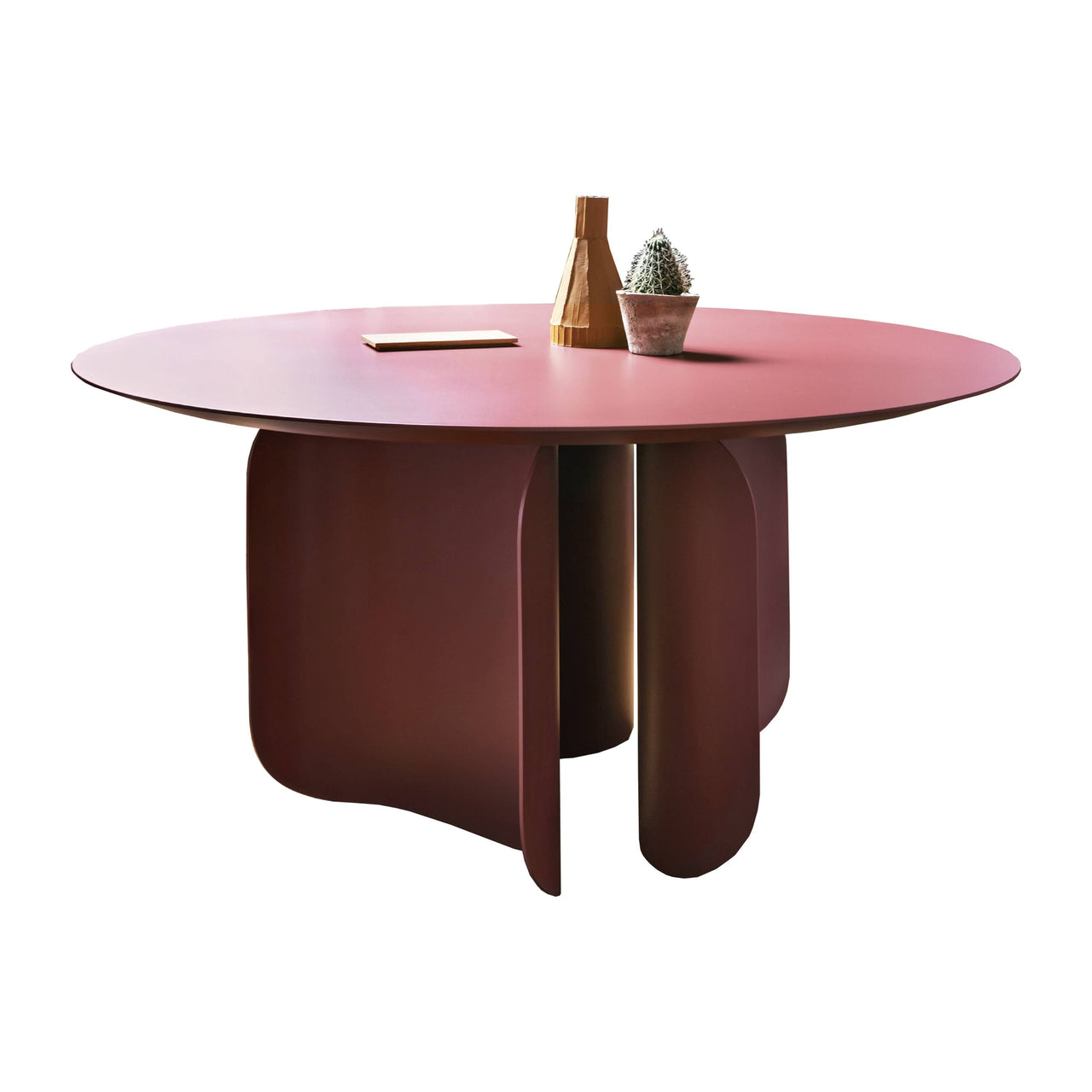 Barry Round Table: Marsala Red Lacquer + Marsala Red Lacquer Base