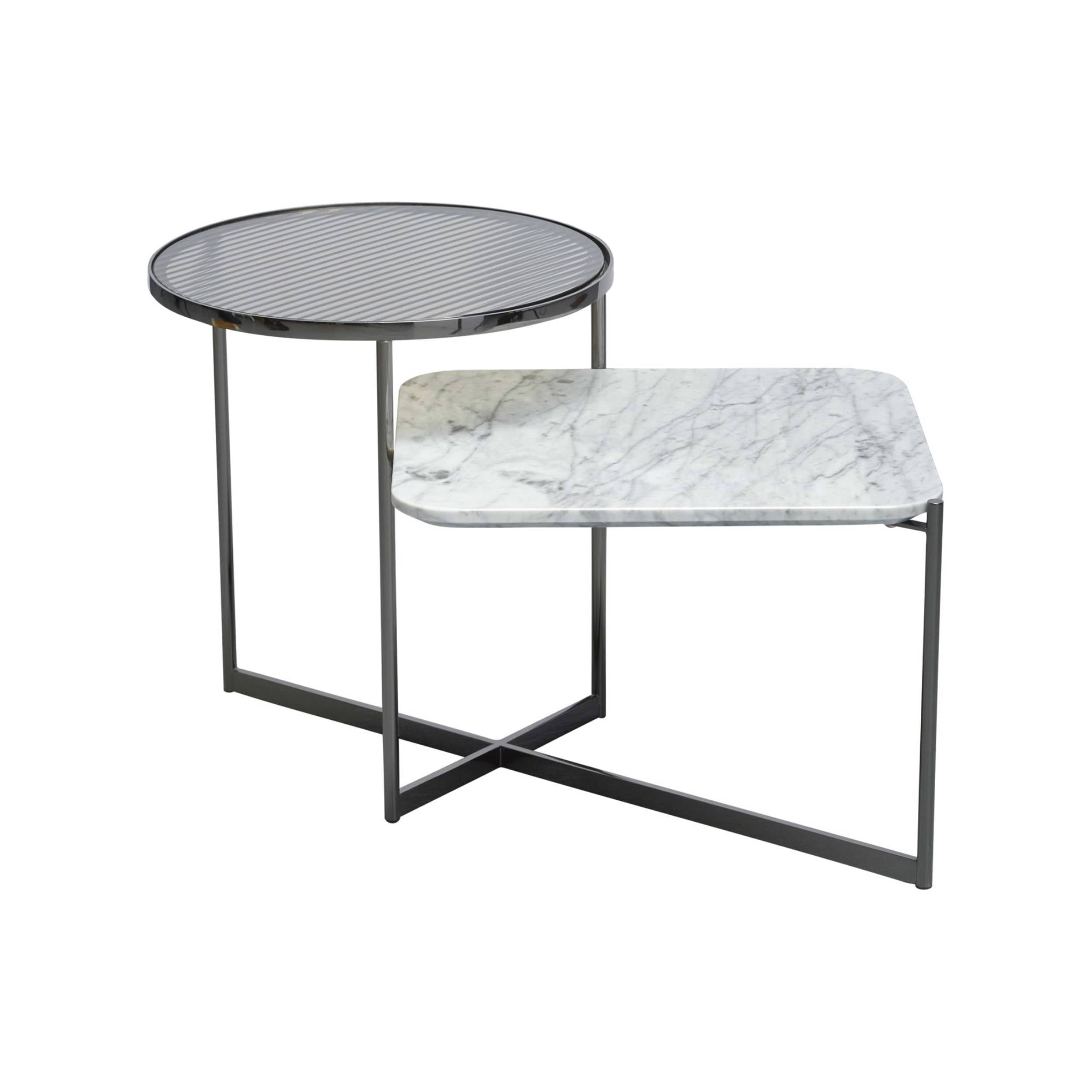 Mohana Side Table Medium: Black Chrome + Fluted Glass + White Marble