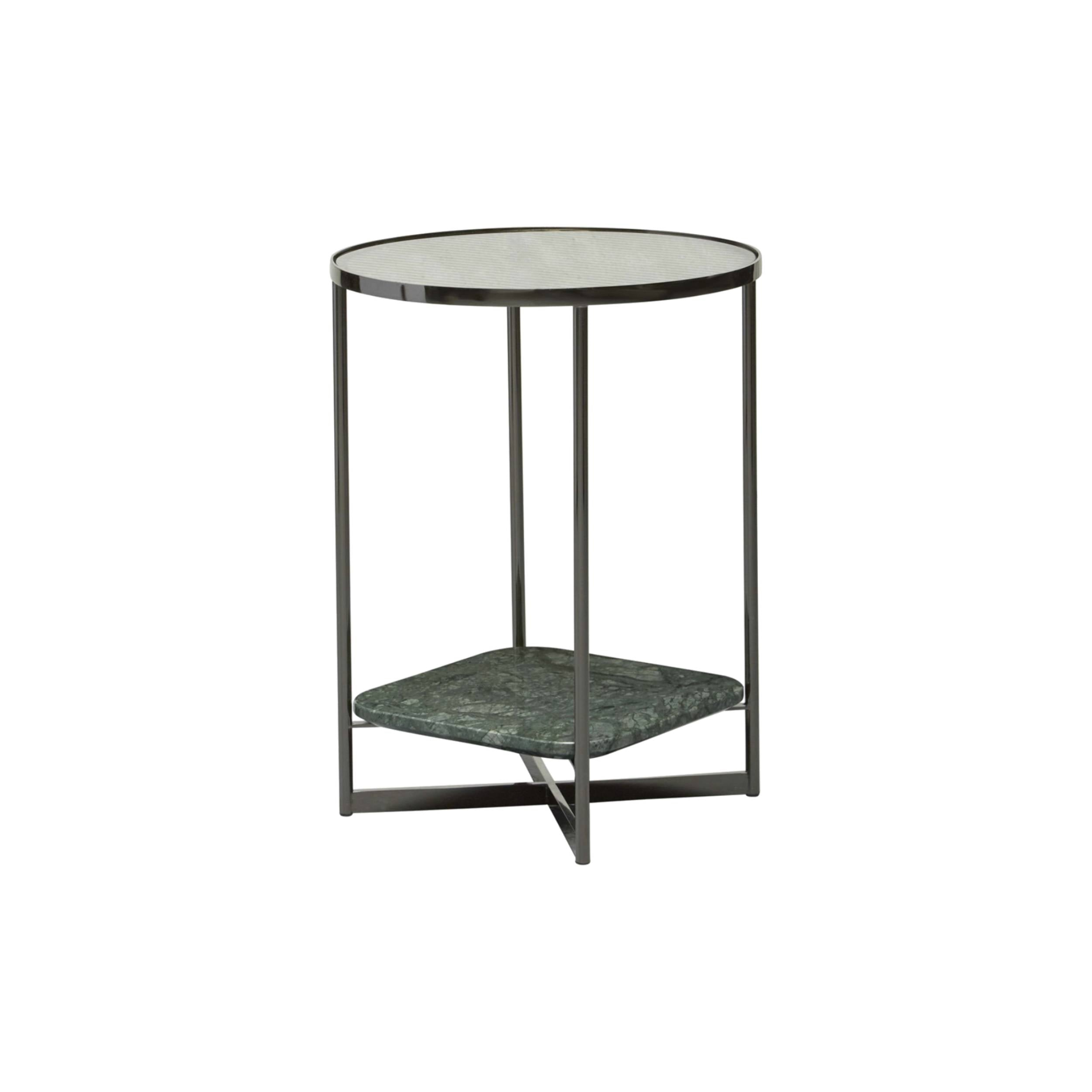 Mohana Side Table Small: Black Chrome + Fluted Glass + Green Marble