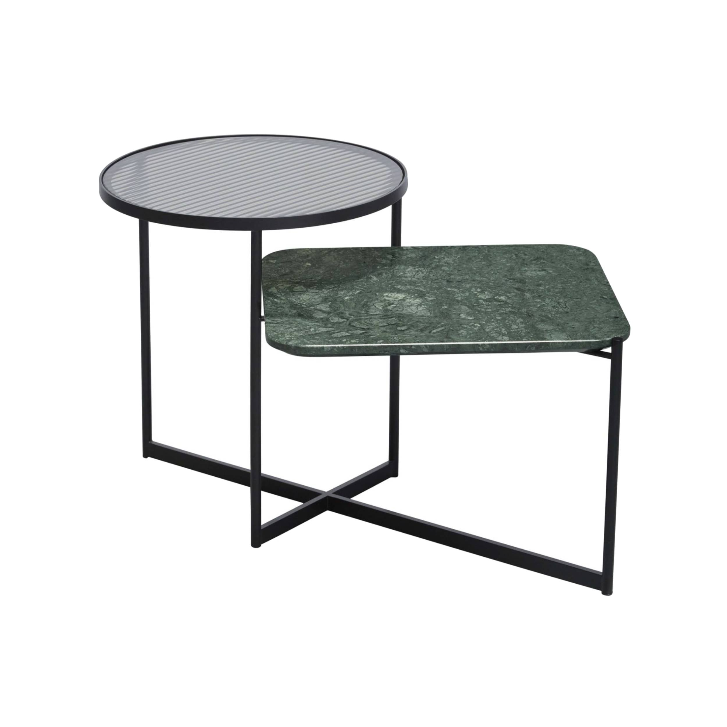 Mohana Side Table Medium: Black + Fluted Glass + Green Marble