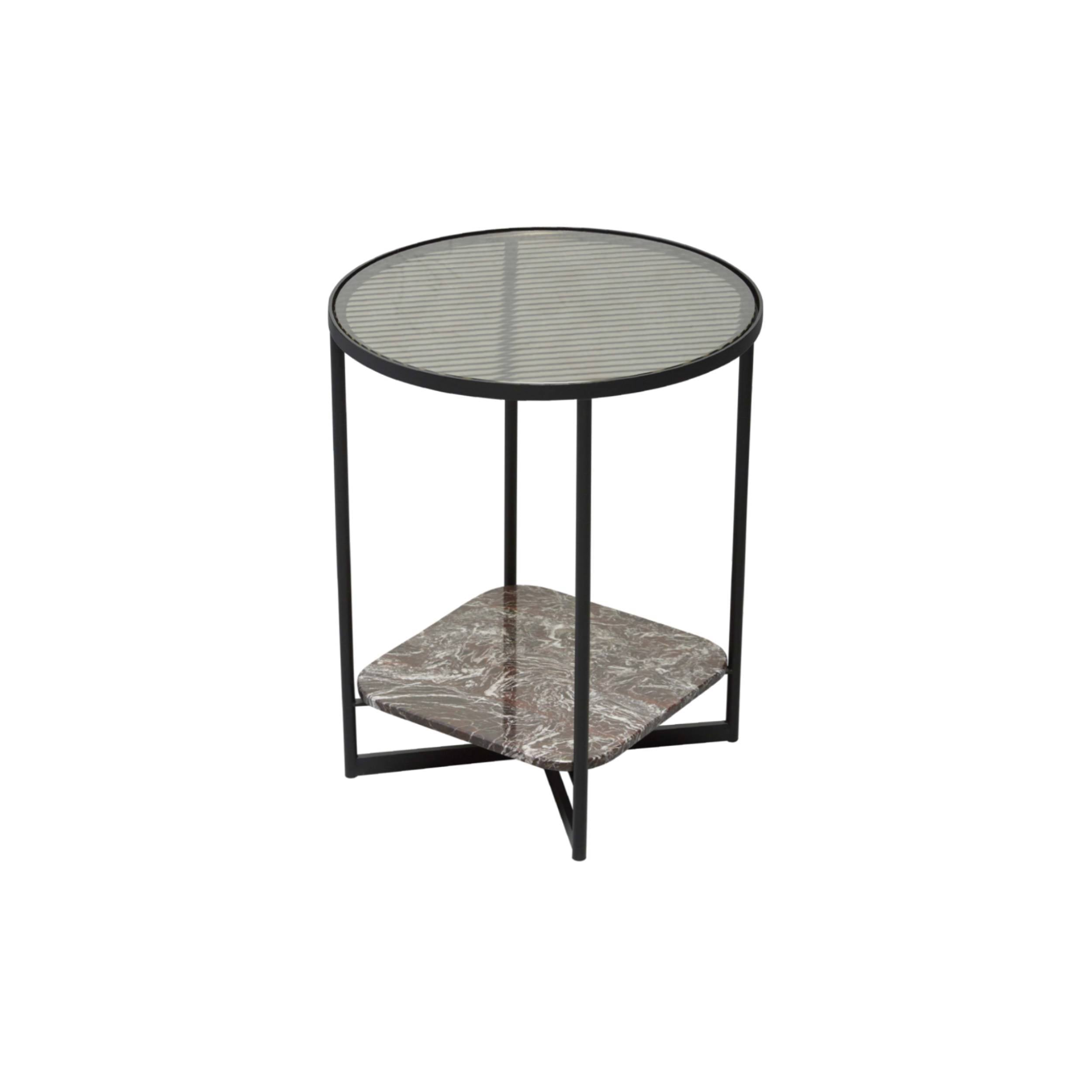 Mohana Side Table Small: Black + Fluted Glass + Rose Marble