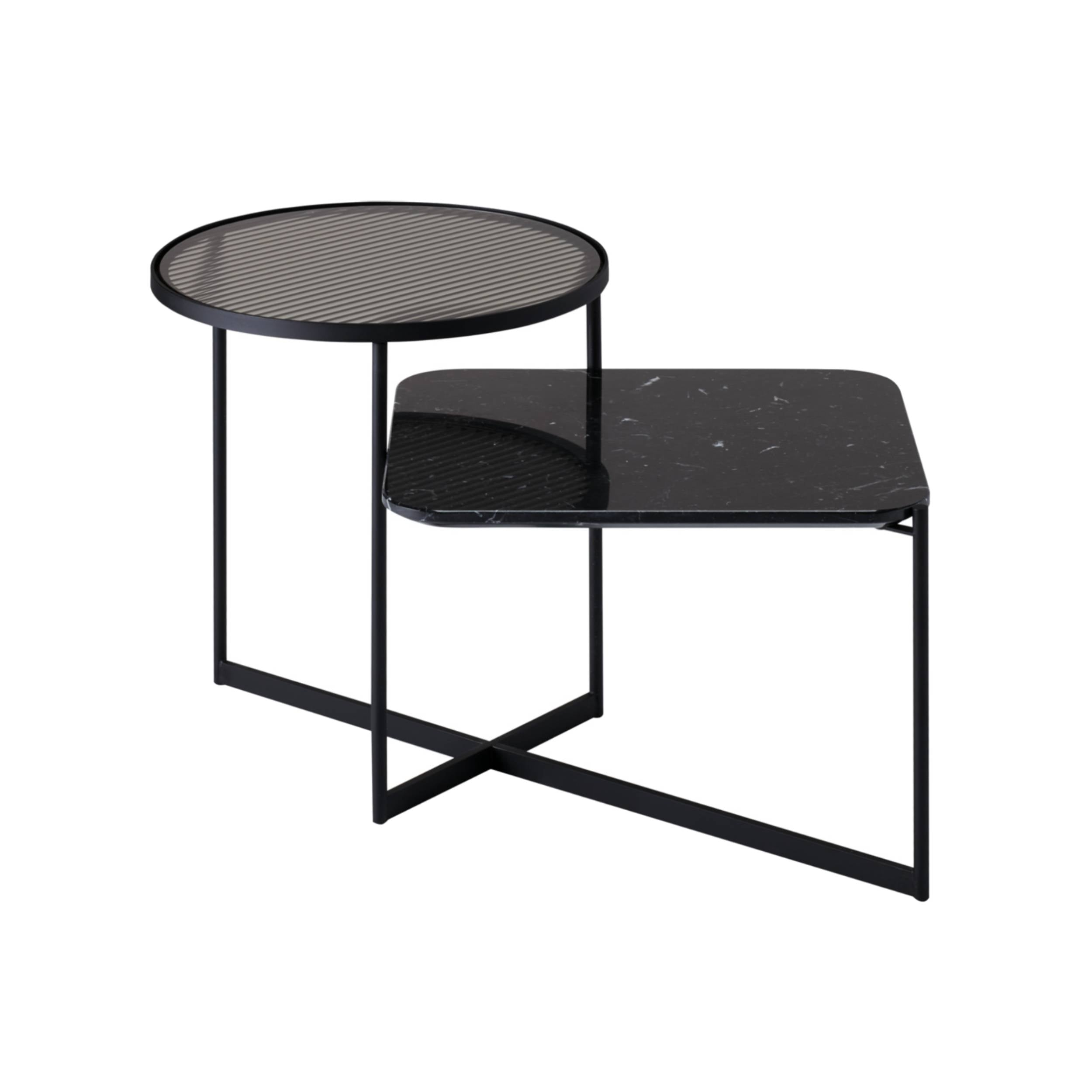 Mohana Side Table Medium: Black + Fluted Glass + Black Marble