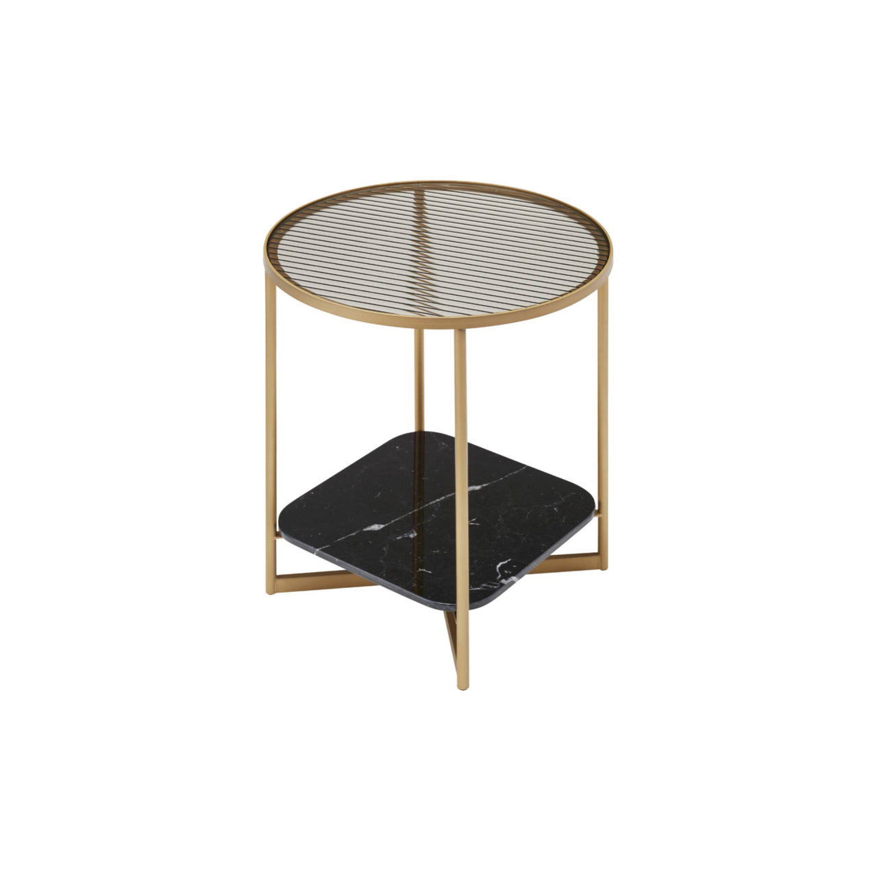 Mohana Side Table Small: Gold Chrome + Fluted Glass + Black Marble