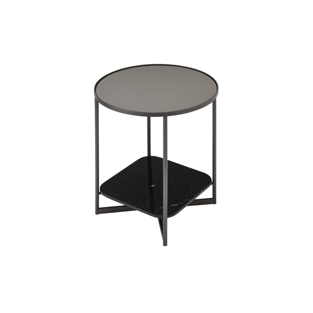 Mohana Side Table Small: Pewter + Etched Grey Glass + Black Marble