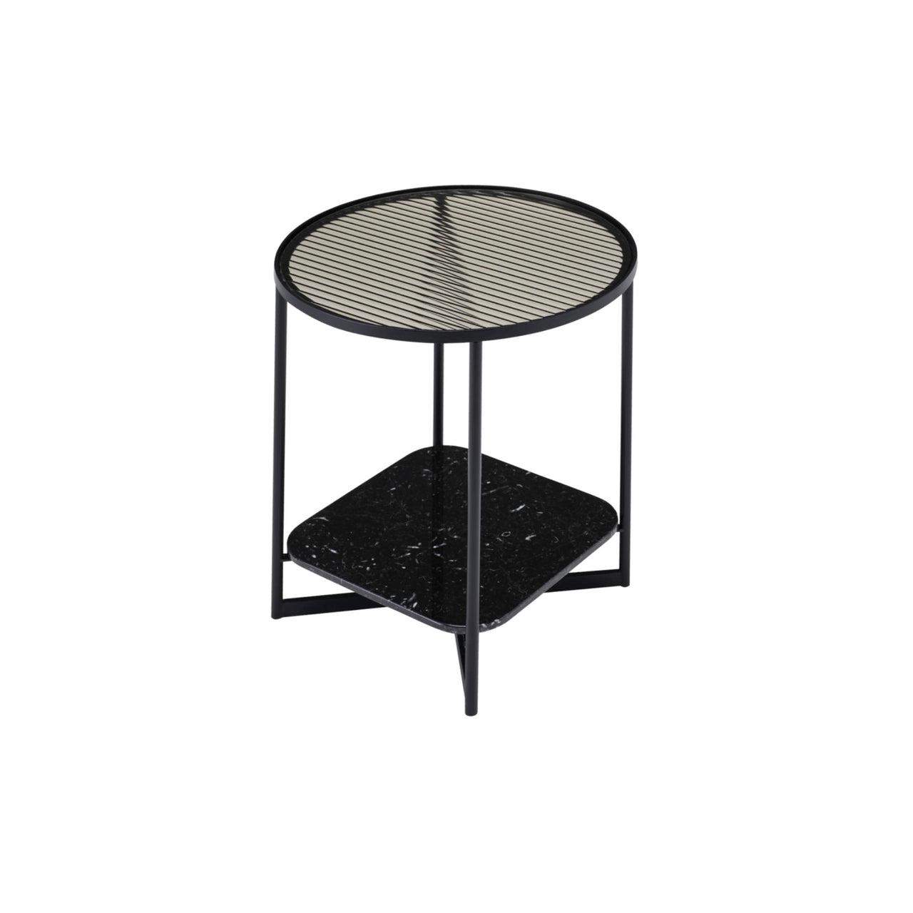 Mohana Side Table Small: Black + Fluted Glass + Black Marble