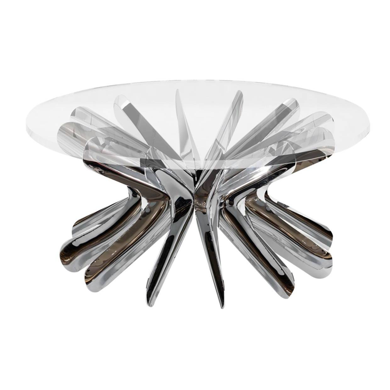 Steel in Rotation Coffee Table: Stainless Steel + Large