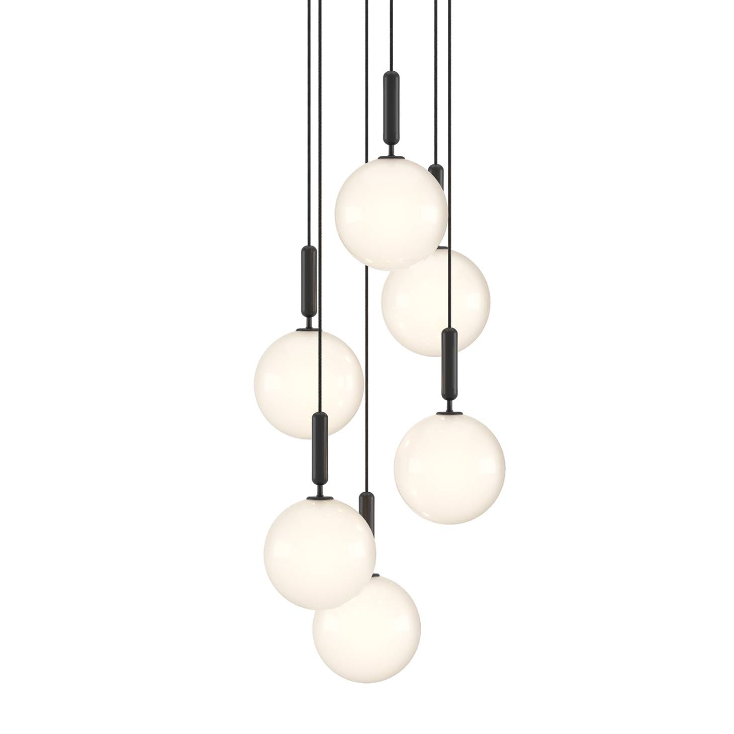 Miira 6 Chandelier: Opal White + Large