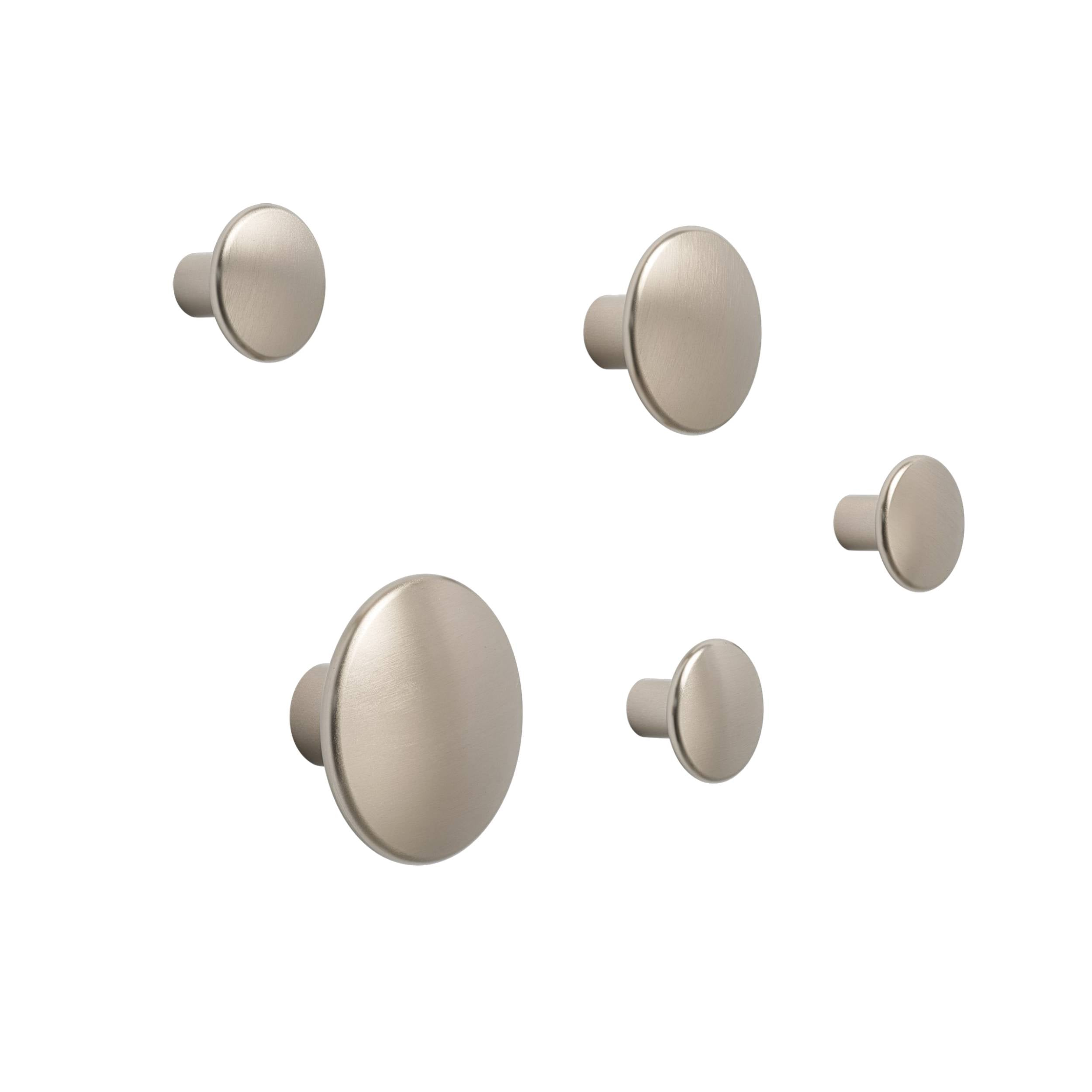 The Dots Metal Coat Hooks: Set of 5 + Taupe