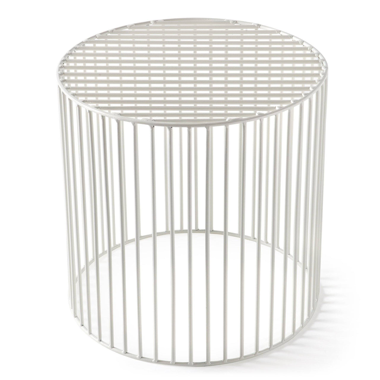 Tamburo Side Table: Small + Signal White