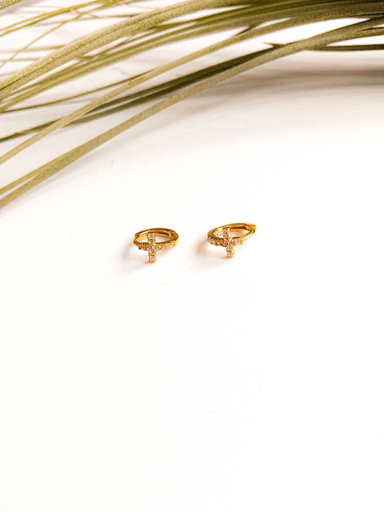 Italy Micro Cross Huggie Hoop Earring in Gold