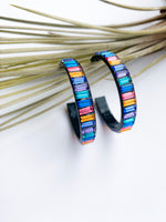 Ibiza rainbow baguette hoops large
