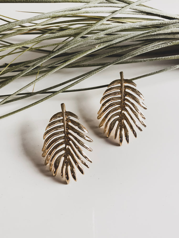 Siargao Palm leaf metal stud earring