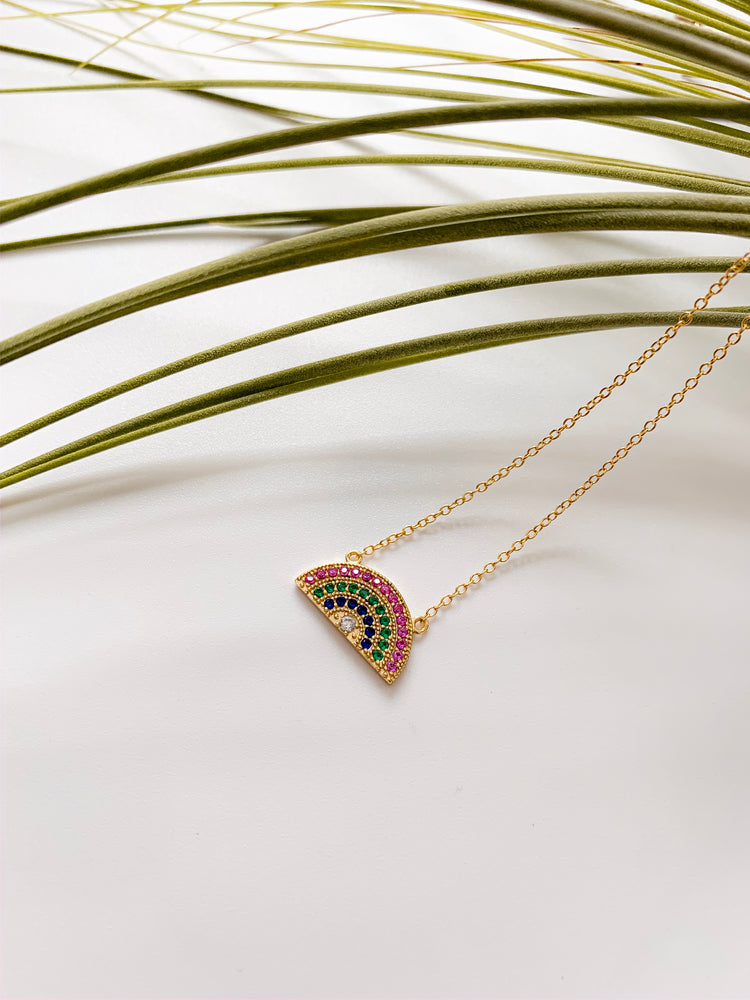 Hawaii Rainbow Pendant Necklace in Gold