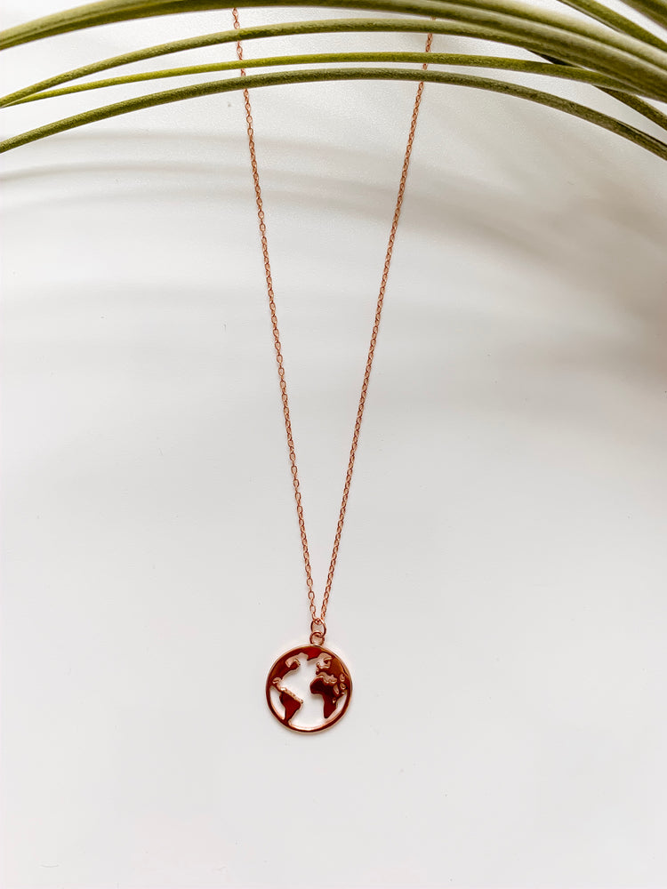 World Traveler Necklace in Rose Gold