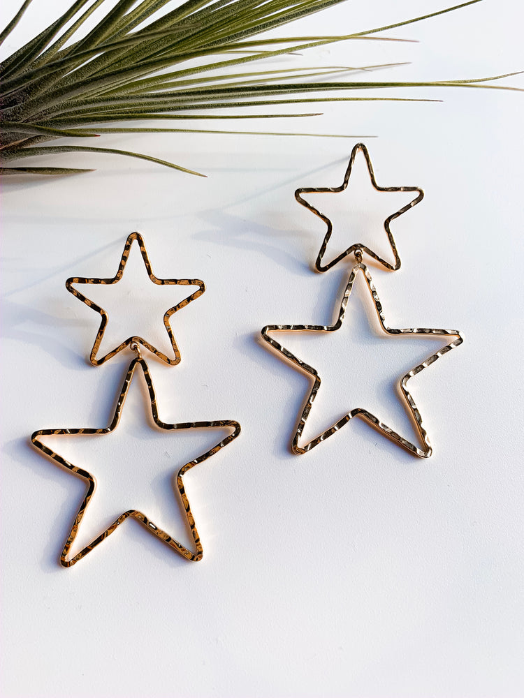 Amadora Star Earrings. Silver and Gold