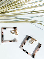Lisbon Clip on Square Hoops. More Colors