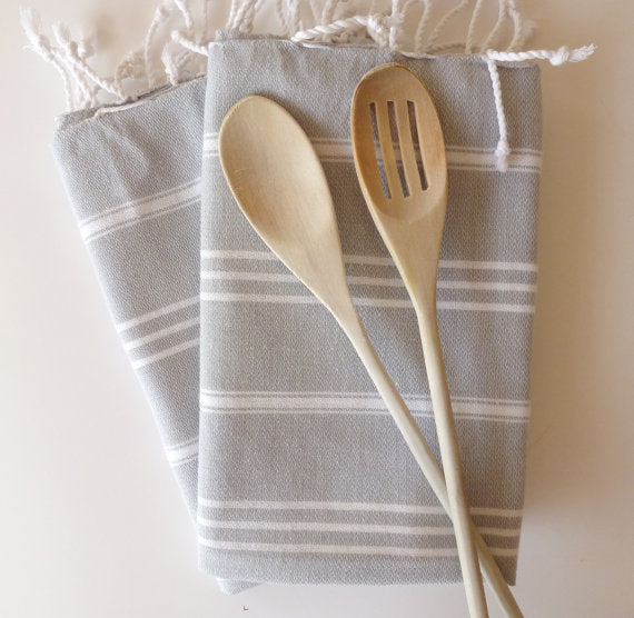 Set of 2 Turkish Ecofriendly Hand Towel (Peshkir), Organic, Tea Towel, Head Towel, Gray