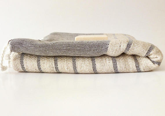 Organic Bamboo Turkish Towel, Peshtemal, Bath and Beach Towel, Natural Soft, Elegant Brown Striped