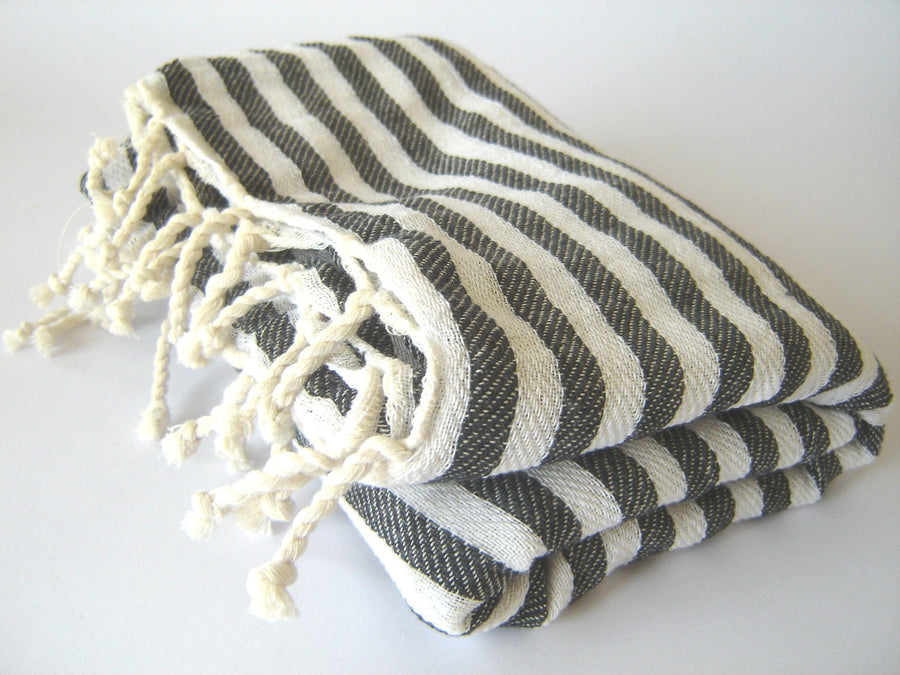 Turkish Towel Handwoven Peshtemal, Bath, Beach, Black Striped, Summer Coverup