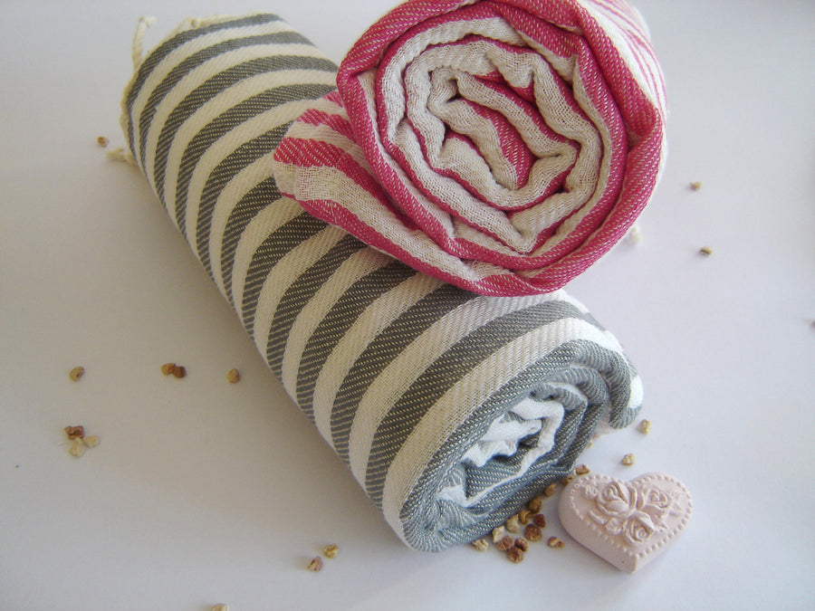 Turkish Towel, Peshtemal, Bath, Beach & Spa Towel, Grey Striped