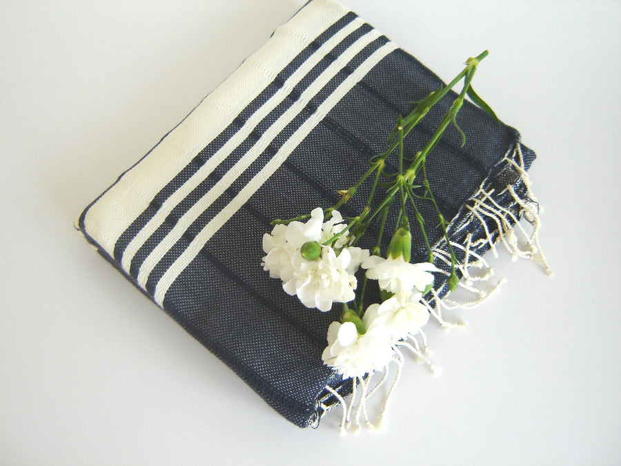 Turkish Bath Towel,  Eco-friendly Peshtemal, Natural Soft Cotton, Beach, Spa, Yoga Towel, Navy