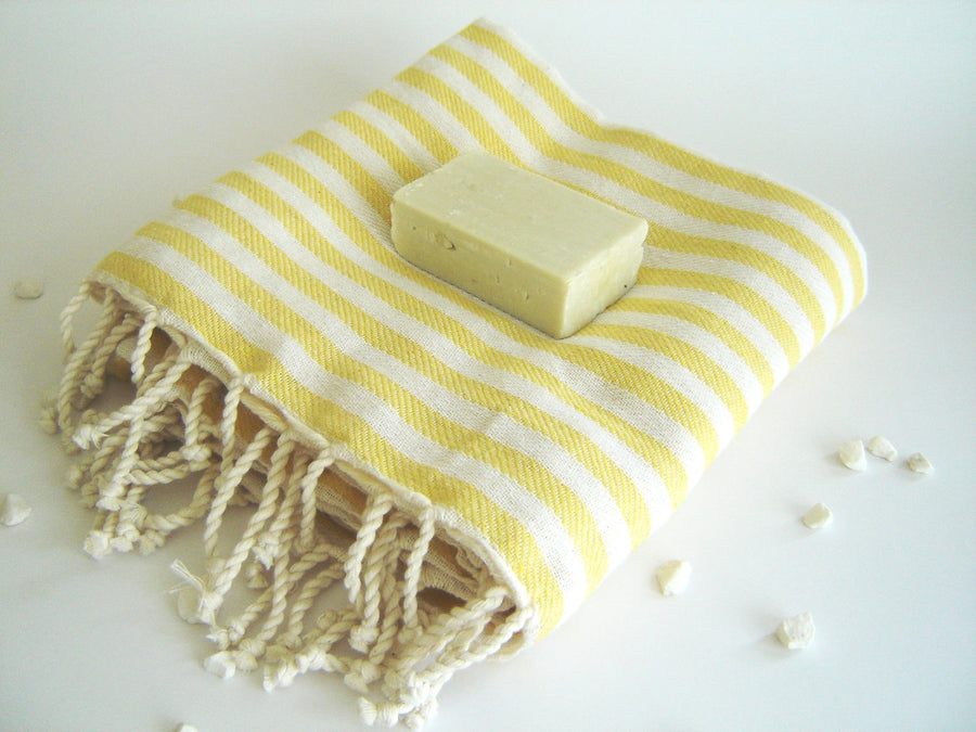 Yellow Striped Turkish Towel, Handwoven Peshtemal, Bath, Beach, Spa Towel, Coverup