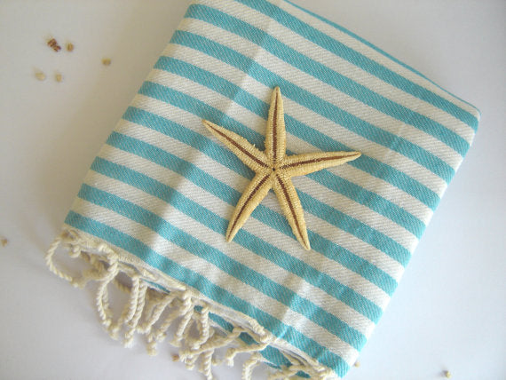 Aqua Striped Turkish Towel, Peshtemal, Bath and Beauty Towel