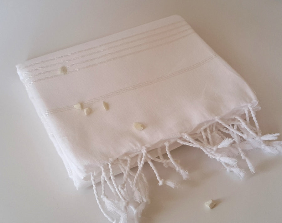 Turkish Towel, Peshtemal, Natural Soft Cotton Bathroom, Beach Towel, Beautiful Gift, White