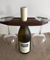 Wine Holder, Wooden Stripe, Holds 2 Glasses & 1 Bottle