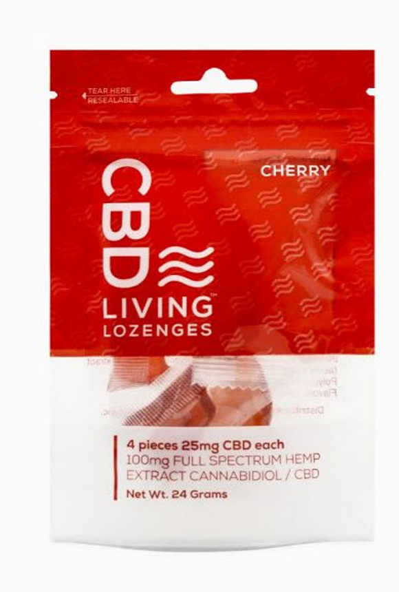 CBD Living Lozenges Bag Cherry 100mg.  Sugar-Free