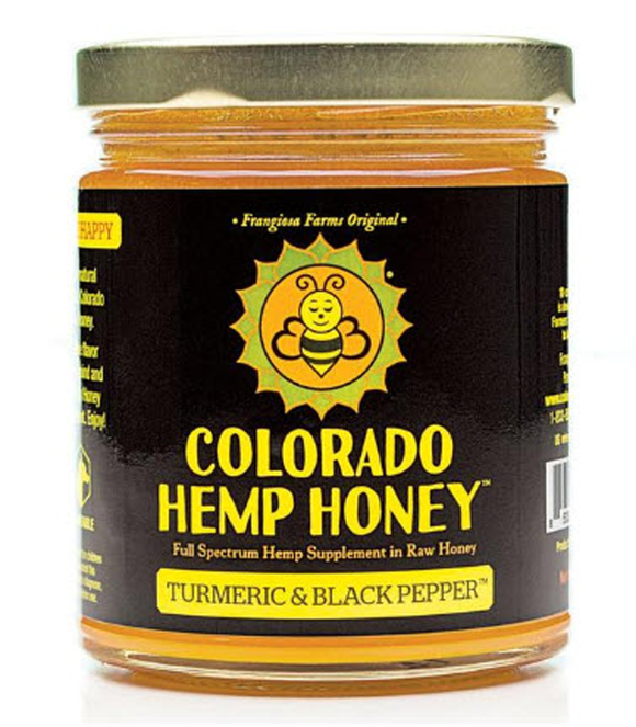 Colorado Hemp Honey Turmeric & Black Pepper 12oz 1000mg. Creamed honey.