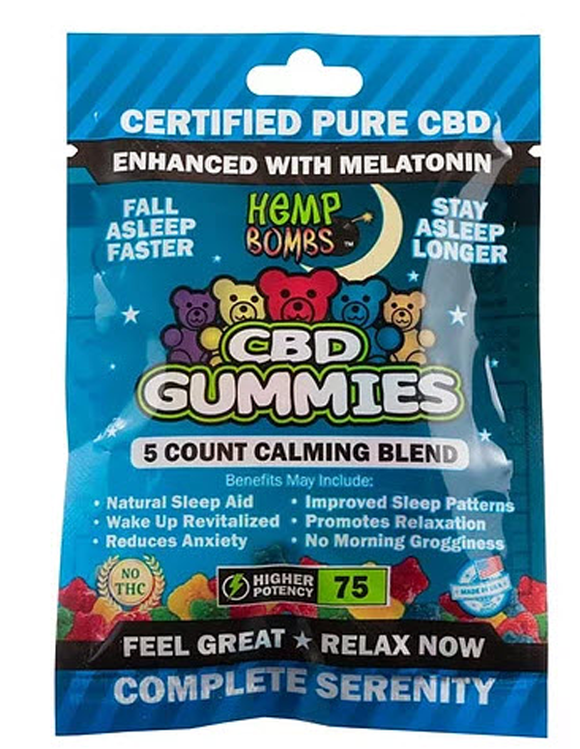 Pure CBD Melatonin Tasty Sleep Gummies 75mg THC Free
