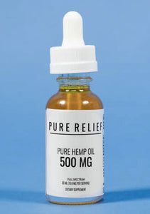 Pure Relief CBD Oil. 500mg/16mg per serving. Relieves pain, anxiety and many other conditions.