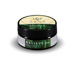 Sana Relieve Creme 2oz. 200mg of broad-spectrum hemp extract. Trusted by clinicians.