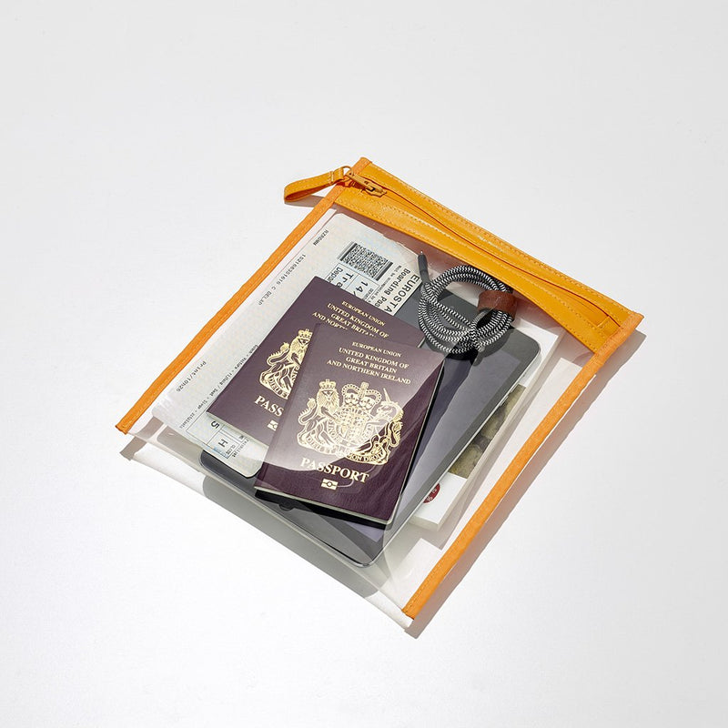 take monday flat travel pouch clear orange