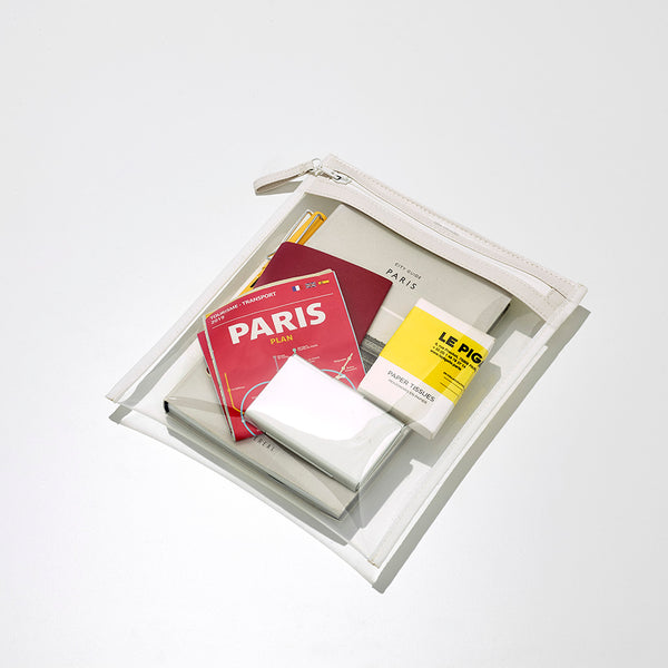 take monday flat travel pouch clear white