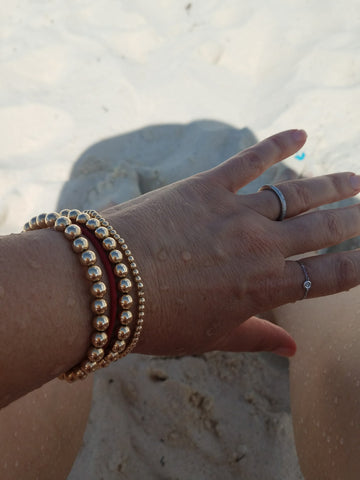 Gold bead bracelets are beach safe