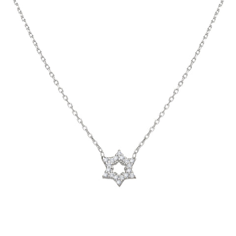jewish star of david necklace in silver