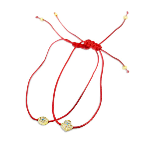 evil eye and hamsa red string bracelets