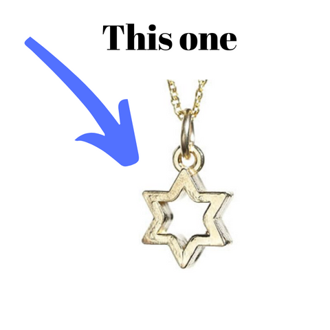 outline small jewish star necklace