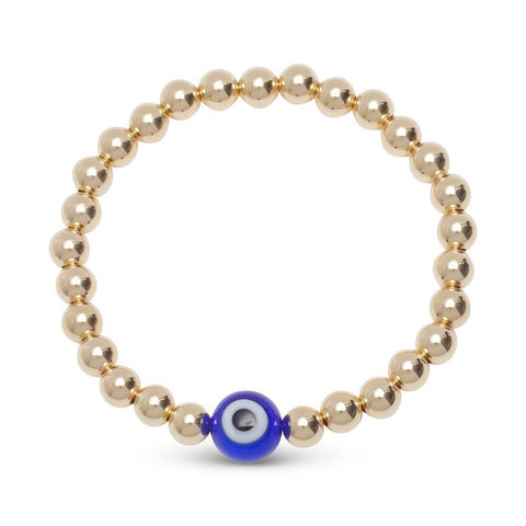 single evil eye bead bracelet in gold
