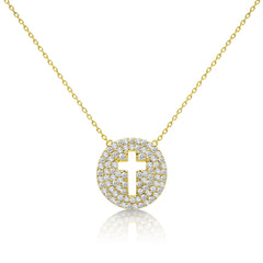 gold round cross jewelry