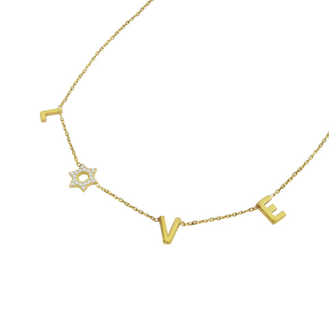 yellow gold love star necklace