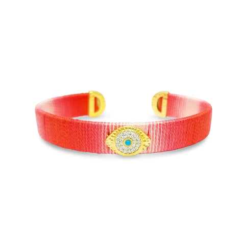 red eye bracelet with gold