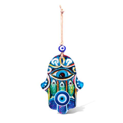 hamsa hand with fish for home and evil eye
