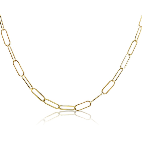 paperclip chain in gold