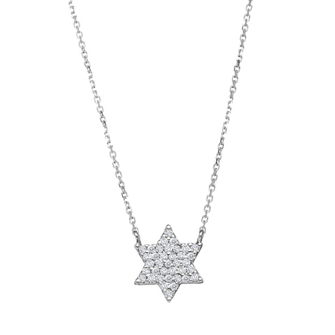 white gold jewish star necklace
