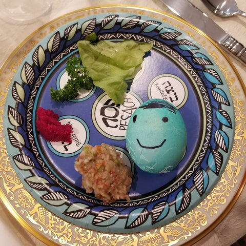 seder plate with easter egg