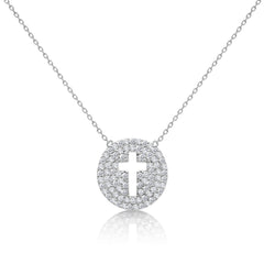 silver round cross necklace
